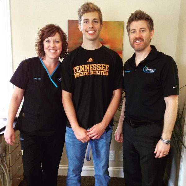 Happy patient with Dr. Witherow and Amy